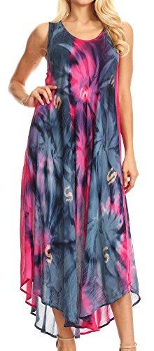 Sakkas 00831 Starlight Caftan Tank Dress / Cover Up - Pink / Navy - One Size