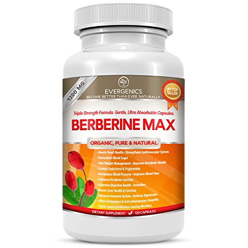 Berberine HCl Max 1200MG All-Natural Organic Supplement. Boosts Heart Health. Normalizes Blood Sugar, Cholesterol and Weight. Supports Digestion, Immunity and Total Health. 120 Easy Absorb Capsules.
