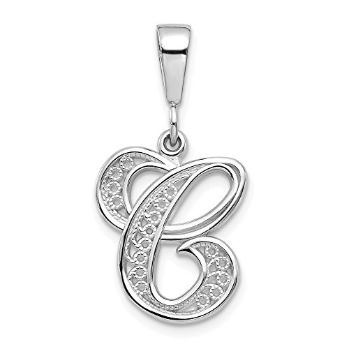 14k White Gold Solid Filigree Initial Monogram Name Letter C Pendant Charm Necklace Fine Jewelry Gifts For Women For Her