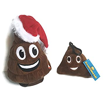 christmas poop emoji animated plush toy bundle with poop emoji keychain charm - Christmas Poop