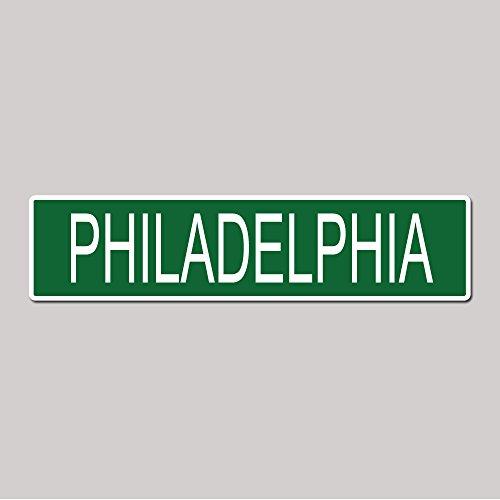 PHILADELPHIA City Pride Green Vinyl on White - 4X17 Aluminum Street Sign