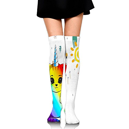 HAIRUIYD Knee High Socks Cat With A Unicorn Horn Women's Work Stance Athletic Over Thigh High Stockings]()