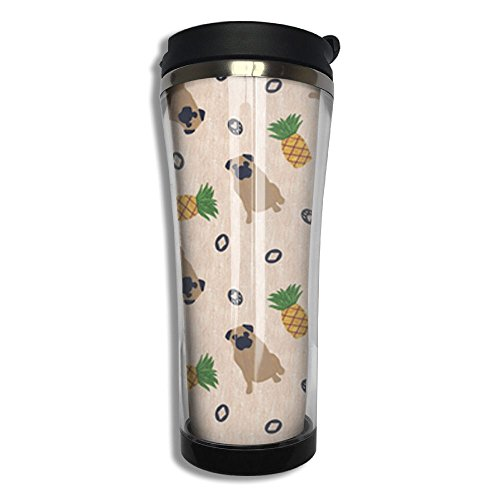 Primitive Pug And Pineapple Stainless Steel Inside Coffee Cup For Travel Office Heat Preservation Tea Hand