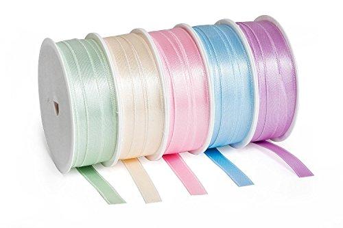 5er-Set Satinband Pastell Schleifenband Deko à 3m x 1cm Hochzeit Geschenk Rolle