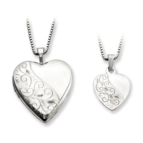 Sterling Silver Polished Swirl Design Heart Mom Locket & Daughter Pendant Set Pendants ()