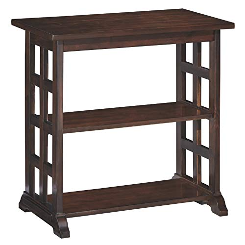 Laminate Occasional End Table - Ashley Furniture Signature Design - Braunsen Chairside End Table - 2 Shelves - Contemporary Lattice Design- Brown