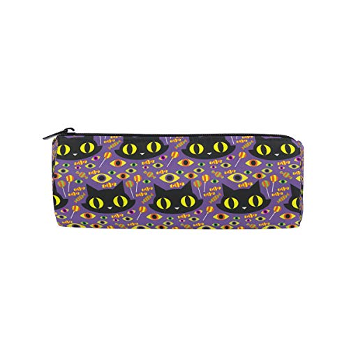JERECY Halloween Cat Candies Pattern Pencil Case Pouch Bag School Stationery Pen Box Zipper Cosmetic Makeup Bag ()