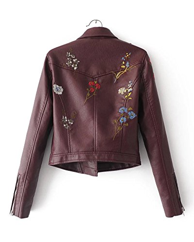 Retro Vin Manteau Rouge Avec Biker Zipper Veste Cuir Cuir Pu Broderie Faux Femme Moto Blouson gwFaqdd