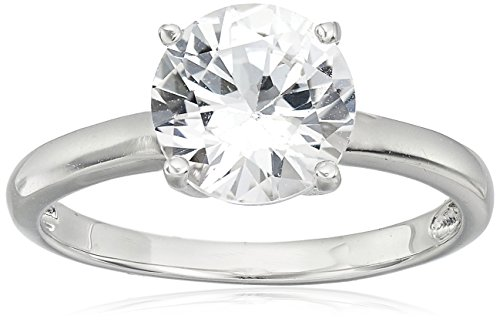 Sterling Silver Created White Sapphire Solitaire Ring, Size 6