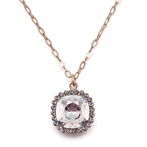 Catherine Popesco 12mm Shade with Dark Grey Border Swarovski Crystal Goldtone Pendant ()