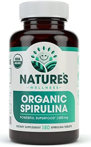 USDA Organic Spirulina Tablets – Non-GMO Green Superfood Supplement 3000mg of Fresh Blue Green Algae, Vegan, Gluten Free, Sustainably Grown, Pesticides Free and Non-Irradiated, 500mg per Tablet, 180