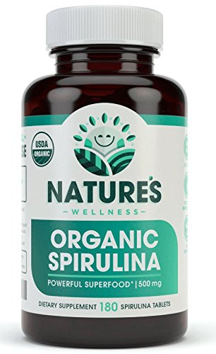 (USDA Organic Spirulina Tablets - Non-GMO Green Superfood Supplement: 3000mg of Fresh Blue Green Algae, Vegan, Gluten Free, Sustainably Grown, Pesticides Free and Non-Irradiated, 500mg per Tablet, 180')