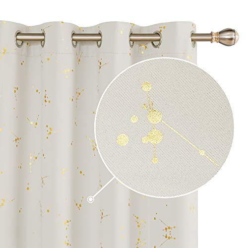 Deconovo Light Beige Foil Printed Constellation Pattern Curtains Grommet Blackout Curtain Light Blocking Window Drapes for Living Room 2 Panels 52 x72 inch