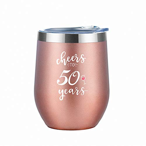 50th Birthday Gifts for Women Tumbler  Cheers to 50 Years Stainless Steel Insulated Tumbler with Lid and Straw   Funny and Unique Presents for Women Turning 50 Anniversary Gift Under 20 Dollars