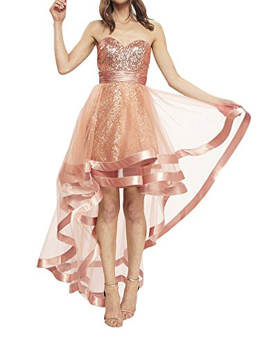 (Sequined High Low Homecoming Dress Strapless Sweetheart A-Line Prom Evening Gown)