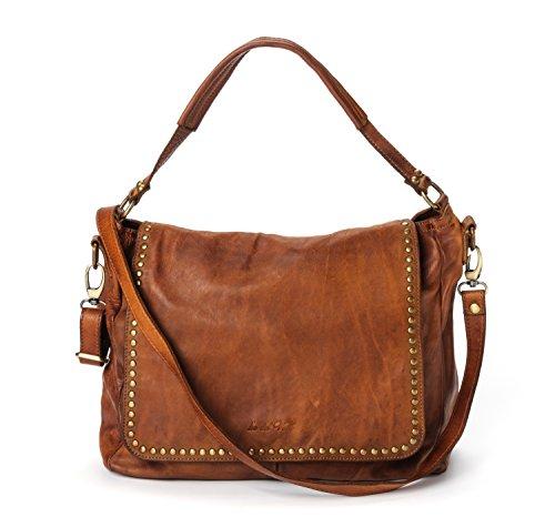 Ira del Valle, Borsa Donna, In Vera Pelle Borchiata Vintage, Made in Italy, Modello Arizona Bag, Borsa Grande a Mano e Spalla con Tracolla da Donna Ragazza cognac