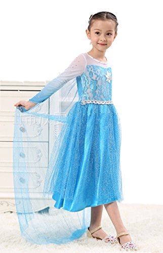HalloweenCostumeParty Frozen elsa halloween costumes dress for kids girls (6 Person Halloween Costumes)