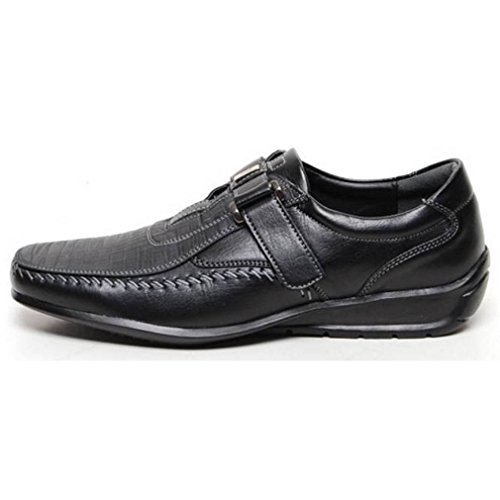 Epicstep Heren Casual Lederen Raceschoenen Fashion Sneakers Oxfords Loafers Zwart Velcro