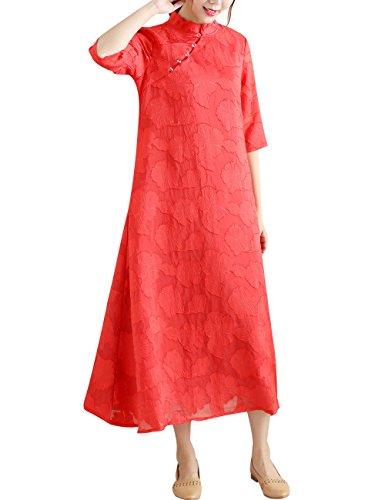 Mujeres Youlee Rojo Estilo Vestir 2 A line Collar Estar UvxHpvZ