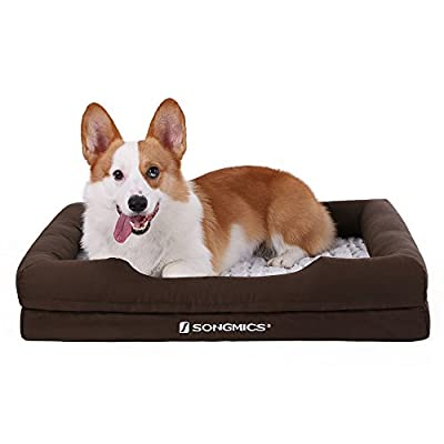 SONGMICS Orthopedic Plush Pet Dog Bed Comfortable with Removable Washable Cover Multi-size Brown