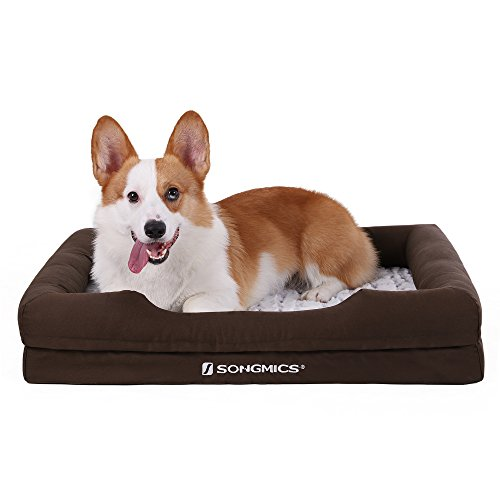 SONGMICS Orthopedic Plush Pet Dog Bed Sofa Comfortable with Removable Washable Cover Medium Size 28 x 19 inch Brown UPGW73Z