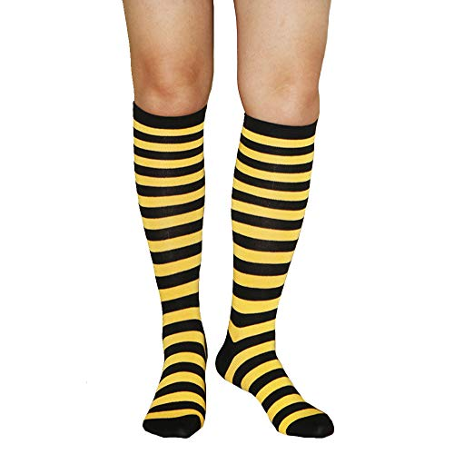 Women Girl Stripe Rainbow Athletic Soccer Tube Cute Knee High Socks,Yellow Black
