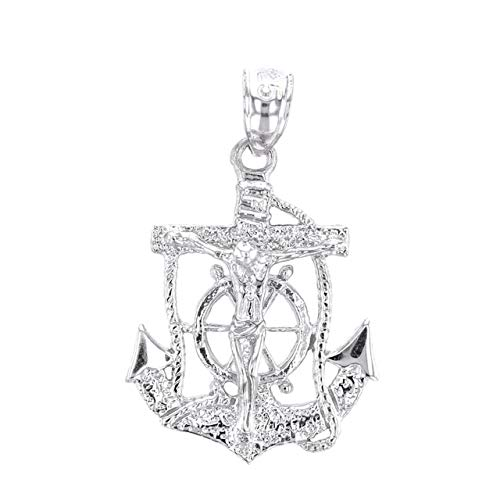 Solid Sterling Silver Mariners Anchor Crucifix Pendant