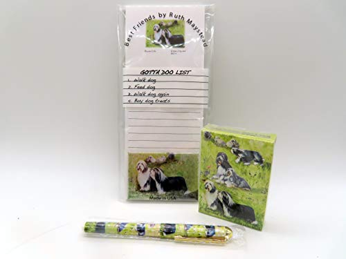 Dog Lover's Gift Set! - 4 Piece Bundle- One Custom Fine Art Writing Pen, One Matching Magnetic List Pad, One Matching Decorative Magnet, One Matching Deck Playing Cards (Bearded Collie)