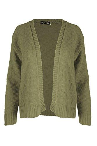 Oops Outlet Femmes Damier Tricot Maille Manches Longues Ouvert Front Cardigan Boléro Cache Épaules Grande Taille UK 8-22 - Kaki, M/L (EU 40/42)