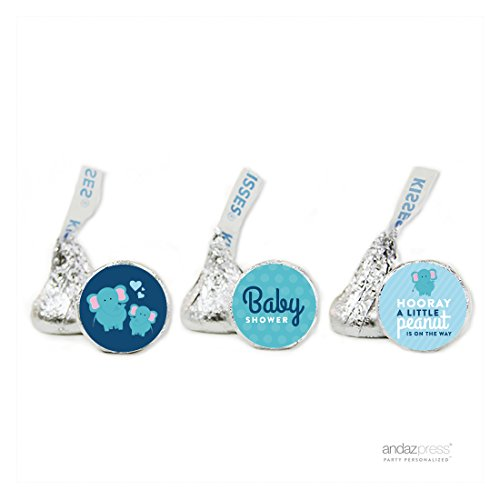 - Andaz Press Lil Peanut Elephant Boy Baby Shower Collection, Party Chocolate Drop Label Stickers Trio, Fits Hershey's Kisses, 216-Pack, For Themed Party Favors, Gifts, Boxes, Favor Bags, Treats, Stationery, Envelopes and Presents
