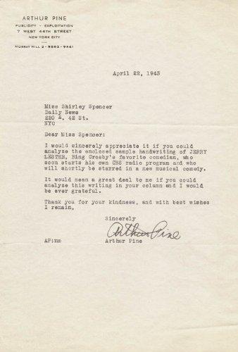 Arthur Pine - Typed Letter Signed 04/22/1943 (Arthur Pine)