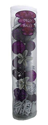 Natural Mixed Material Decorative Balls Bowl Filler Set Wicker Decorative Fruit and Balls Purple
