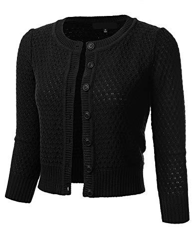 FLORIA Women's Button Down 3/4 Sleeve Crew Neck Cotton Knit Cropped Cardigan Sweater Black L