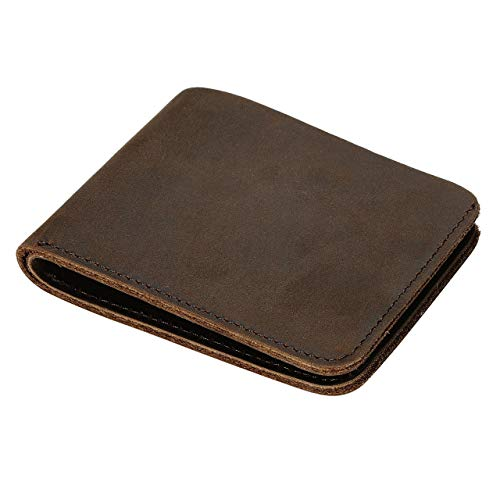 Faleto Genuine Buffalo Men's Genuine Leather Vintage Italian Slim Bifold Wallet Handmade ()