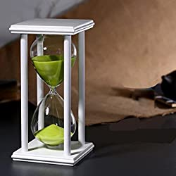 60 Minutes Hourglass, iPhyhe One Hour Sand Timer with White Wooden Frame (Green Sand)