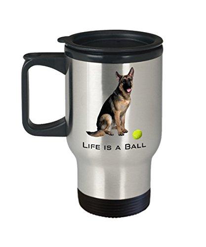 Ball Is Life German Shepherd Mug (Travel Mug) 16oz Dog Mug Is The Perfect German Shepherd Mug - Dog Merchandise - Dog Coffee Mug - German Shepherd Gi - German Shepherd Merchandise