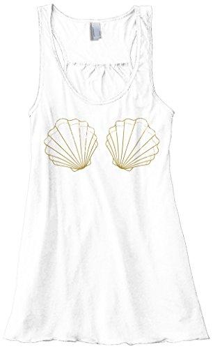 Threadrock Women's Seashell Seaside Bride Flowy Racerback Tank Top M White (Tank Seashell)