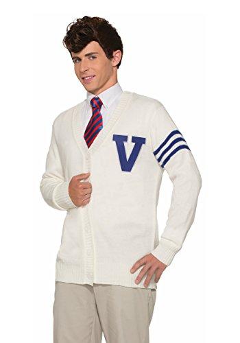 Varsity Sweater Costume (Forum Novelties Men's 50's Varsity Sweater, White, Standard)
