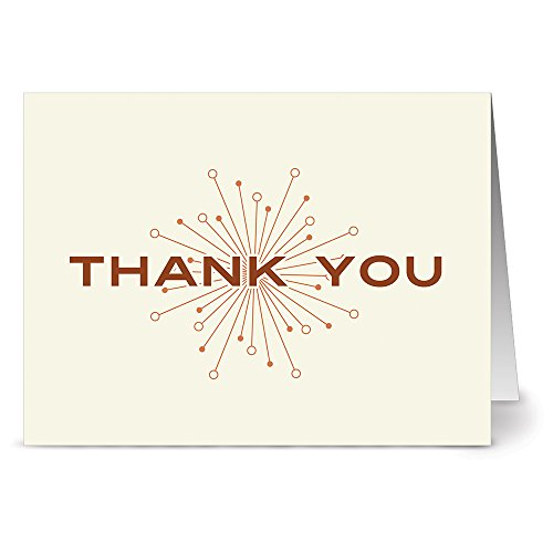 24 Note Cards - Ivory and Rust Retro Thank You - Blank Cards - Kraft Envelopes Included
