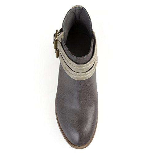 Journee Collection Womens Faux Leather Side Split Buckle Booties Grey WziIh