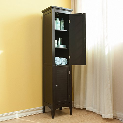 4-Shelf Storage Cabinet with Doors | Bayfield Dark - Linen Cabinet 24