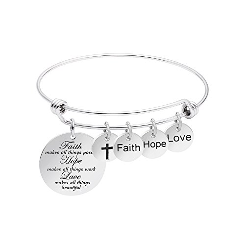 Faith Bracelet for Christian Expandable Wire Bangle Jewelry Gift (Faith Hope Love) ()