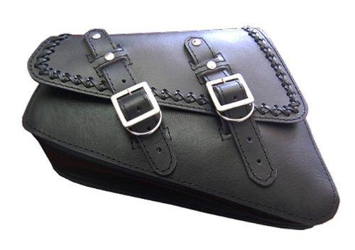 Cross Iron Black Saddlebags - LaRosa Harley-Davidson Sportster XL Black Leather Cross Lace Saddle Bag