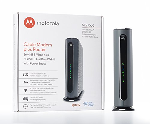 Motorola MG7550 16x4 Cable Modem, AC1900 Dual Band Wi-Fi Gigabit Router with Power Boost, 686 Mbps DOCSIS 3.0 and Time Warner Cable