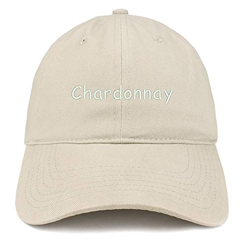 Trendy Apparel Shop Chardonnay Embroidered 100% Cotton Adjustable Cap Dad Hat - Stone