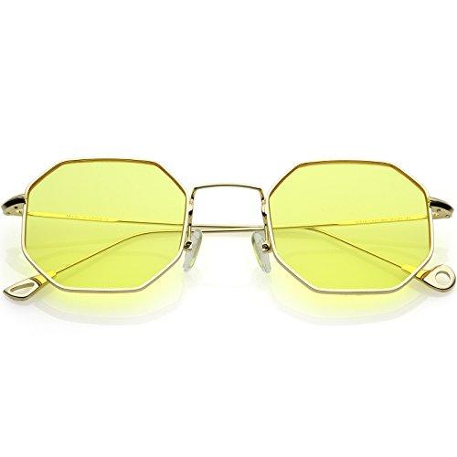 sunglassLA - Premium Geometric Octagon Sunglasses Ultra Slim Metal Color Tinted Flat Lens 49mm (Gold/Yellow)