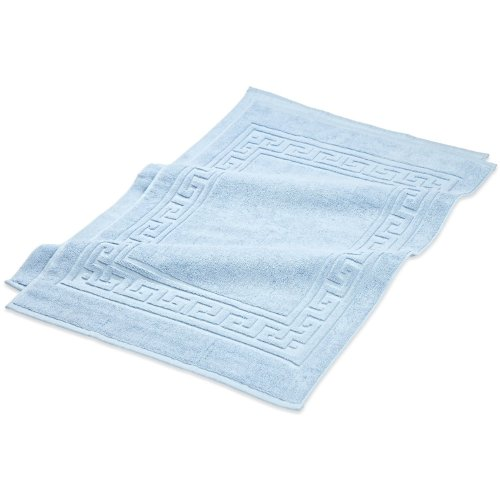 Superior Hotel & Spa Quality Bath Mat Set of 2, Made of 100% Premium Long-Staple Combed Cotton, Durable and Washable Bathroom Mat 2-Pack - Light Blue, 22