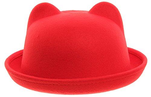 EOZY Women Wool Felt Cat Ear Roll-up Hat Fedora Bowler Head Circumference 22.5
