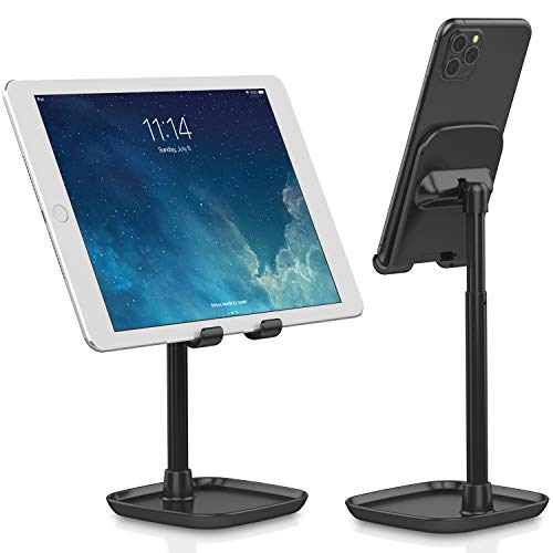 Tekpluze Cell Phone Stand for Desk,Smartphone Stand with Adjustable Angle and Height,Mobile Phone Stand with Anti-Slip Base, Compatible with All Smartphone,iPhone,iPad and Switch (4-10) - Black (Color: Black)