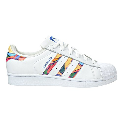 adidas Originals Women's Superstar W Fashion Sneaker, White/White/Lab Blue, 7 M US